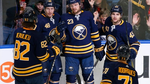 <p>               Buffalo Sabres forward Sam Reinhart (23) celebrates his goal with teammates during the third period of an NHL hockey game against the Washington Capitals, Saturday, Feb. 23, 2019, in Buffalo N.Y. (AP Photo/Jeffrey T. Barnes)             </p>