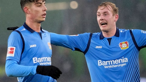 <p>               File--- Picture taken Jan.26, 2019, shows Leverkusen's Kai Havertz, left, celebrates with Julian Brandt during a German Bundesliga soccer match against VfL Wolfsburg in Wolfsburg, Germany. The two young Germany internationals are leading Bayer Leverkusen's revival under new coach Peter Bosz. (Peter Steffen/dpa via AP)             </p>