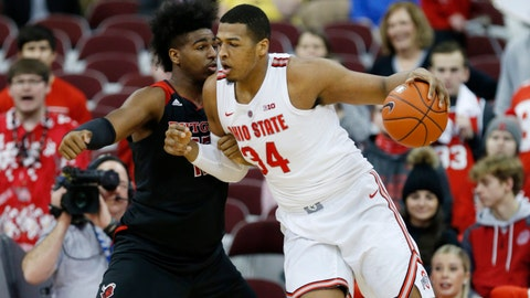 <p>               Ohio State forward Kaleb Wesson, right, drives against Rutgers forward Myles Johnson during the first half of an NCAA college basketball game in Columbus, Ohio, Saturday, Feb. 2, 2019. (AP Photo/Paul Vernon)             </p>