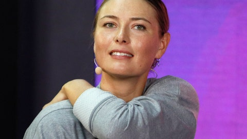 """<p>               FILE - In this Jan. 30, 2019, file photo, Maria Sharapova speaks about withdrawing from the St. Petersburg Ladies Trophy 2019 tennis tournament due to a right shoulder injury, in St. Petersburg, Russia.. Sharapova says she has undergone a """"small procedure"""" on her right shoulder that will need a few weeks to heal, requiring her to pull out of next month's Miami Open. (AP Photo/Dmitri Lovetsky, File)             </p>"""