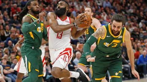 <p>               Houston Rockets guard James Harden (13) drives to the basket as Utah Jazz's Jae Crowder, left, and Ricky Rubio (3) defends during the first half of an NBA basketball game Saturday, Feb. 2, 2019, in Salt Lake City. (AP Photo/Rick Bowmer)             </p>