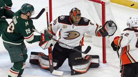 <p>               Minnesota Wild's Luke Kunin, left, shoots wide of Anaheim Ducks goalie Ryan Miller in the second period of an NHL hockey game Tuesday, Feb.19, 2019, in St. Paul, Minn. (AP Photo/Jim Mone)             </p>