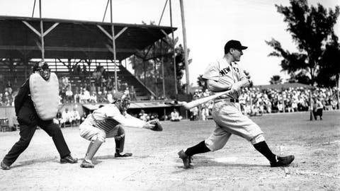 <p>               FILE- In this March 22, 1937, file photo Lou Gehrig bats the ball for the New York Yankees in his first exhibition game of the season against the Boston Bees in St. Petersburg, Fla. Al Lopez is the Bees' catcher and Tiny Parker is the home plate umpire. A collection of Gehrig memorabilia, which includes various photographs, letters and signed documents, and baseballs, is now available as part of Heritage Auctions' latest offering. (AP Photo, File)             </p>