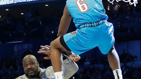 <p>               Oklahoma City Thunder Hamidou Diallo leaps over former NBA player Shaquille O'Neal during the NBA All-Star Slam Dunk contest, Saturday, Feb. 16, 2019, in Charlotte, N.C. Diallo won the contest. (AP Photo/Chuck Burton)             </p>