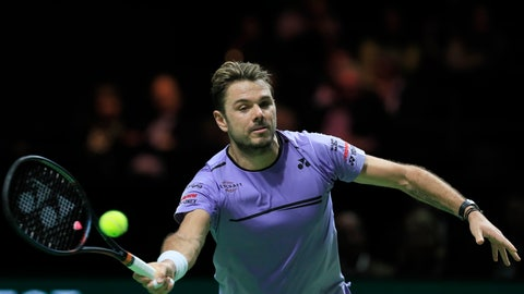 <p>               Stan Wawrinka of Switzerland plays a shot against Gael Monfils of France in the men's singles final of the ABN AMRO world tennis tournament at Ahoy Arena in Rotterdam, Netherlands, Sunday, Feb. 17, 2019. (AP Photo/Peter Dejong)             </p>