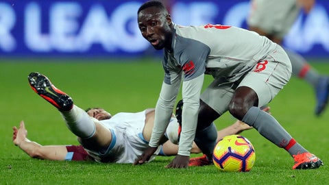 <p>               Liverpool's Naby Keita, right, and West Ham's Robert Snodgrass challenge for the ball during the English Premier League soccer match between West Ham United and Liverpool at the London Stadium in London, Monday, Feb. 4, 2019.(AP Photo/Kirsty Wigglesworth)             </p>