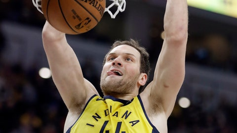 <p>               Indiana Pacers' Bojan Bogdanovic dunks during the first half of an NBA basketball game against the Cleveland Cavaliers, Saturday, Feb. 9, 2019, in Indianapolis. (AP Photo/Darron Cummings)             </p>