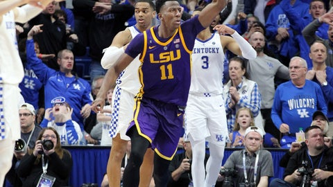 <p>               LSU's Kavell Bigby-Williams (11) celebrates after tipping in the game winning shot against Kentucky after an NCAA college basketball game in Lexington, Ky., Tuesday, Feb. 12, 2019. LSU won 73-71. (AP Photo/James Crisp)             </p>
