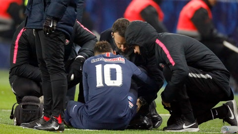 <p>               FILE - In this photo taken on Wednesday, Jan. 23, 2019, PSG's Neymar receives medical attention on the sidelines during the French Cup soccer match against Strasbourg at the Parc des Princes stadium in Paris, before limping off with a recurrence of a right-foot injury.  It is reported Sunday Feb. 3, 2019, PSG has taken exception to a questionnaire by RTL radio, asking soccer fans if they think Neymar causes his own injury problem with a provocative style of play. Paris Saint-Germain attacking star Neymar is recovering from his third injury in the last 12 months. (AP Photo/FILE)             </p>