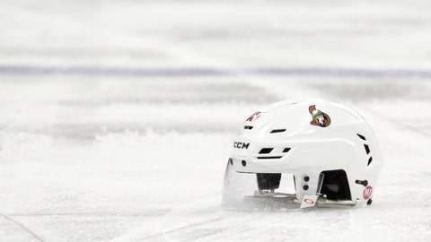 <p>               File-This Feb. 21, 2019, file photo shows the helmet belonging to Ottawa Senators left wing Zack Smith in the third period of an NHL hockey game against the New Jersey Devils, in Newark, N.J. The recent past, present and immediate future are all bleak for the Ottawa Senators. They're on their way to missing the playoffs for the fourth time in six years, just sold off their top three forwards in trade-deadline fire sale and despite being dead-last in the NHL have no chance at a top-three pick in the draft because they included that in a deal last season. Gone in the past eight months are Erik Karlsson, Mike Hoffman, Mark Stone, Matt Duchene and Ryan Dzingel and what's left is a void of uncertainty about just how long the Senators' long-term rebuild will last. (AP Photo/Julio Cortez, File)             </p>