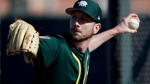 <p>               Oakland Athletics pitcher Jerry Blevins throws at their baseball spring training facility in Mesa, Ariz., Tuesday, Feb. 12, 2019. (AP Photo/Chris Carlson)             </p>