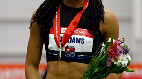<p>               Kendell Williams smiles after winning the pentathlon during the USA Track & Field Indoor Championships on Friday, Feb. 22, 2019, in New York. (AP Photo/Adam Hunger)             </p>