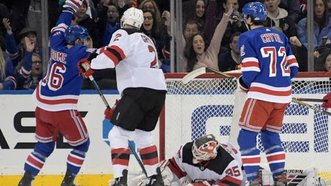 <p>               New York Rangers center Ryan Strome (16) celebrates his goal against New Jersey Devils goaltender Cory Schneider (35) as Devils defenseman Eric Gryba (2) and Rangers center Filip Chytil (72) look on during the first period of an NHL hockey game Saturday, Feb. 22, 2019, at Madison Square Garden in New York. (AP Photo/ Bill Kostroun)             </p>