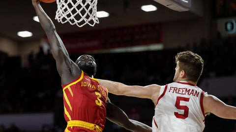 <p>               Iowa State guard Marial Shayok (3) goes up for a basket as Oklahoma forward Matt Freeman (5) defends in the first half of an NCAA college basketball game in Norman, Okla., Monday, Feb. 4, 2019. (AP Photo/Alonzo Adams)             </p>