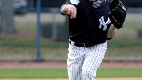 <p>               New York Yankees' Danny Farquhar performs drills at the New York Yankees spring training baseball facility, Saturday, Feb. 16, 2019, in Tampa, Fla. (AP Photo/Lynne Sladky)             </p>