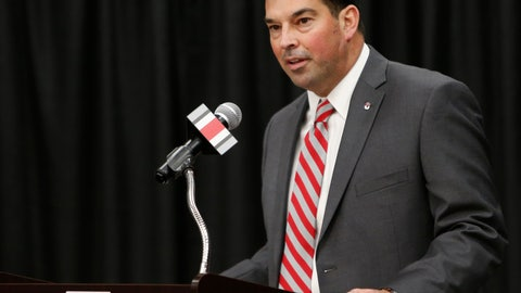 <p>               FILE - In this Dec. 4, 2018, file photo, Ryan Day answers questions during a news conference announcing his hiring as NCAA college football head coach at Ohio State, in Columbus, Ohio. The Buckeyes started Wednesday, Feb. 6, 2019, by losing four-star offensive lineman Doug Nester, who flipped to Virginia Tech. The Buckeyes then beat out Southern California for four-star offensive lineman Enokk Vimahi of Kahuku, Hawaii.(AP Photo/Jay LaPrete, File)             </p>