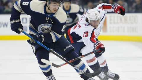 <p>               Columbus Blue Jackets' Zach Werenski, left, tries to control the puck as Washington Capitals' Nicklas Backstrom, of Sweden, defends during the first period of an NHL hockey game Tuesday, Feb. 12, 2019, in Columbus, Ohio. (AP Photo/Jay LaPrete)             </p>