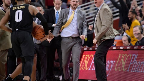 <p>               Colorado coach Tad Boyle, right, celebrates after Colorado defeated USC 69-65 in an NCAA college basketball game Saturday, Feb. 9, 2019, in Los Angeles. (AP Photo/Mark J. Terrill)             </p>
