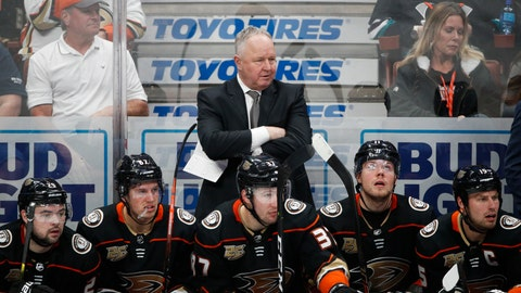<p>               FILE - In a Wednesday, Jan. 23, 2019 file photo, Anaheim Ducks coach Randy Carlyle, center, watches during the third period of the team's NHL hockey game against the St. Louis Blues, in Anaheim, Calif. The Anaheim Ducks have fired coach Randy Carlyle amid a seven-game losing streak. The Ducks announced Sunday, Feb. 10, 2019  that general manager Bob Murray would take over as interim coach for the remainder of the regular season.  (AP Photo/Jae C. Hong, File)             </p>