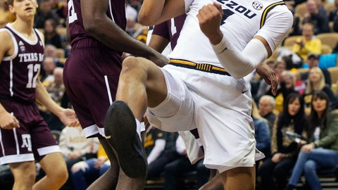 <p>               Missouri's Javon Pickett celebrates after dunking the ball during the first half of an NCAA college basketball game against Texas A&M, Saturday, Feb. 9, 2019, in Columbia, Mo. (AP Photo/L.G. Patterson)             </p>