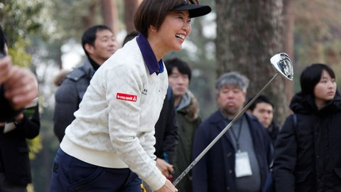 """<p>               Japanese golf player Hiromi Kobayashi reacts after her shot during a media tour of Kasumigaseki Country Club golf course, one of the venues of the Tokyo 2020 Olympics, in Kawagoe, near Tokyo, Monday, Feb. 25, 2019. Kobayashi was the LPGA's rookie of the year in 1990 and she says Japan faces high expectations. She says """"as a player I was representing myself. But this is a different kind of pressure"""" for the country and its golfing community. (AP Photo/Koji Sasahara)             </p>"""