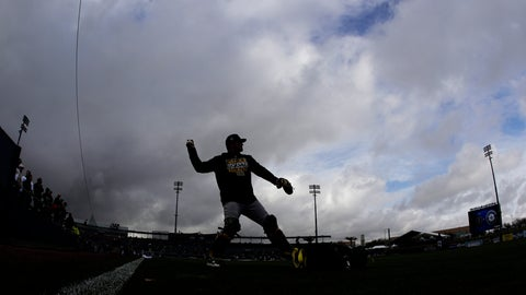 <p>               Oakland Athletics catcher Chris Herrmann is silhouetted against storm clouds as he warms up before a spring training baseball game against the Seattle Mariners, Friday, Feb. 22, 2019, in Peoria, Ariz. (AP Photo/Charlie Riedel)             </p>