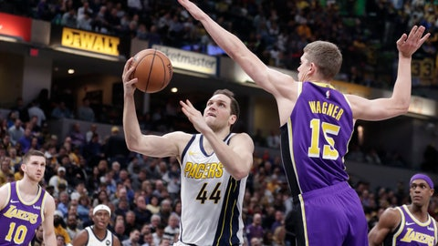 <p>               Indiana Pacers forward Bojan Bogdanovic (44) shoots under Los Angeles Lakers center Moritz Wagner (15) during the second half of an NBA basketball game in Indianapolis, Tuesday, Feb. 5, 2019. The Pacers defeated the Lakers 136-94. (AP Photo/Michael Conroy)             </p>