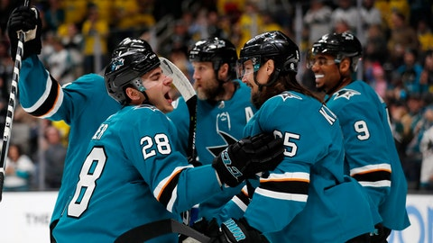 <p>               San Jose Sharks' Timo Meier (28) celebrates with Erik Karlsson (65) and Evander Kane (9) after scoring against the Vancouver Canucks during the first period of an NHL hockey game Saturday, Feb. 16, 2019, in San Jose, Calif. (AP Photo/Josie Lepe)             </p>