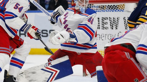 <p>               New York Rangers goalie Alexandar Georgiev (40) makes a save in traffic during the first period of an NHL hockey game against the Buffalo Sabres, Friday, Feb. 15, 2019, in Buffalo N.Y. (AP Photo/Jeffrey T. Barnes)             </p>