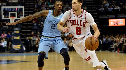<p>               Chicago Bulls guard Zach LaVine (8) drives against Memphis Grizzlies guard Delon Wright (2) in the second half of an NBA basketball game Wednesday, Feb. 27, 2019, in Memphis, Tenn. (AP Photo/Brandon Dill)             </p>