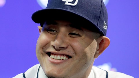<p>               Manny Machado talks to the media during a news conference at San Diego Padres spring training baseball camp Friday, Feb. 22, 2019, in Peoria, Ariz. Machado signed a 10-year, $300 million deal to join the Padres. (AP Photo/Charlie Riedel)             </p>