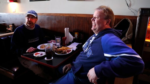 <p>               In this Wednesday, Jan. 30, 2019 photo, Phil Heidemann, left, and Bob Rothschild discusses whether or not they'll watch the upcoming Super Bowl while having lunch at a sports bar in Fenton, Mo. St. Louisans may watch the game this weekend but few will be rooting for the Rams, the team that left the city for Los Angeles three years ago, leaving hard feelings and Rams owner Stan Kroenke and his team being even less popular than the Cubs. (AP Photo/Jeff Roberson)             </p>