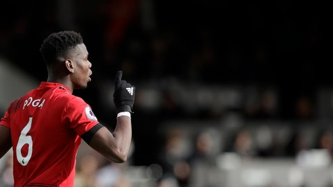 <p>               Manchester United's Paul Pogba celebrates after scoring his side's third goal from penalty during the English Premier League soccer match between Fulham and Manchester United at Craven Cottage stadium in London, Saturday, Feb. 9, 2019. (AP Photo/Matt Dunham)             </p>
