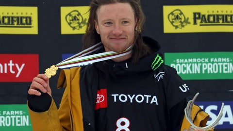 <p>               First place finisher James Woods celebrate on the podium following the men's slopestyle skiing world championship Wednesday, Feb. 6, 2019, in Park City, Utah. (AP Photo/Rick Bowmer)             </p>