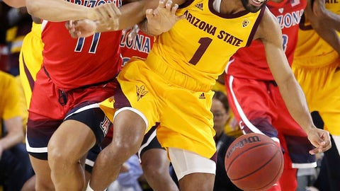 <p>               Arizona State guard Remy Martin (1) battles with Arizona forward Ira Lee (11) for the ball during the first half of an NCAA college basketball game Thursday, Jan. 31, 2019, in Tempe, Ariz. (AP Photo/Ross D. Franklin)             </p>