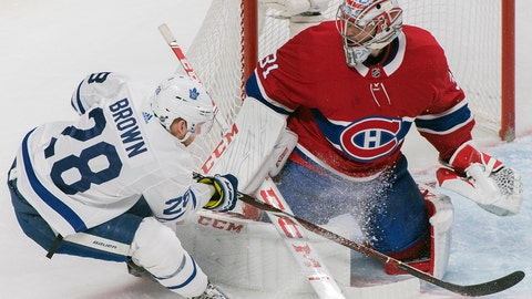 <p>               Toronto Maple Leafs' Connor Brown moves in against Montreal Canadiens goaltender Carey Price during second-period NHL hockey game action in Montreal, Saturday, Feb. 9, 2019. (Graham Hughes/The Canadian Press via AP)             </p>