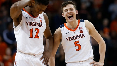 <p>               Virginia guard Kyle Guy (5) and guard De'Andre Hunter (12) laugh during the second half of the team's NCAA college basketball game against Georgia Tech in Charlottesville, Va., Wednesday, Feb. 27, 2019. Virginia won 81-51. (AP Photo/Steve Helber)             </p>