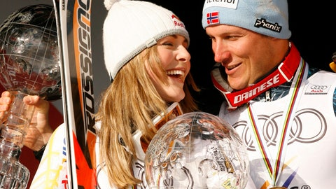 <p>               FILE - In this March 14, 2009 file photo, Lindsey Vonn, of the United States, left, and Norway's Aksel Lund Svindal, smile as they show their Alpine ski World Cup overall title trophies, in Are, Sweden. For Lindsey Vonn and Aksel Lund Svindal, the world championships beginning this week in Are, Sweden, will mark the end of an era. The event will also bring Vonn and Svindal full circle _ back to the site of their first major championship successes more than a decade ago. Vonn claimed the first medals of her career, two silvers, at the freezing 2007 worlds in Are, while Svindal claimed his first golds a dozen years ago by winning the downhill and giant slalom. (AP Photo/Marco Trovati, File)             </p>