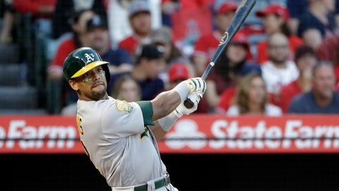"<p>               FILE - In a Sept. 29, 2018 file photo, Oakland Athletics' Khris Davis follows through on his two-run home run against the Los Angeles Angels during the first inning of a baseball game, in Anaheim, Calif. Majors home run leader Khris Davis would like a multiyear deal from the Oakland Athletics to stay with the franchise ""at least three more years.""  (AP Photo/Marcio Jose Sanchez, File)             </p>"