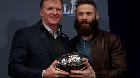 <p>               Super Bowl LIII MVP New England Patriots' Julian Edelman poses with NFL Commissioner Roger Goodell during a news conference for the NFL Super Bowl 53 football game Monday, Feb. 4, 2019, in Atlanta. The Patriots beat the Los Angeles Rams 13-3. (AP Photo/Morry Gash)             </p>
