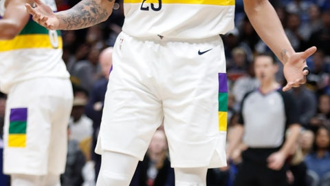 <p>               New Orleans Pelicans forward Anthony Davis reacts to a call during the first half of the team's NBA basketball game against the Orlando Magic in New Orleans, Tuesday, Feb. 12, 2019. The Magic won 118-88. (AP Photo/Tyler Kaufman)             </p>