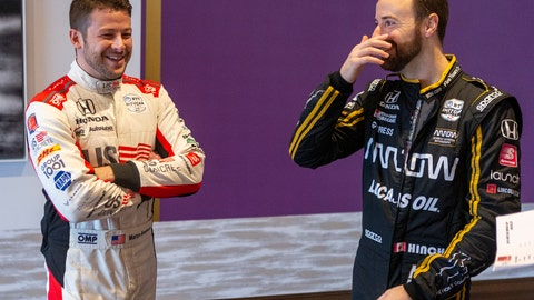 <p>               IndyCar drivers Marco Andretti, left, and James Hinchcliffe speak during IndyCar auto racing media day, Monday, Feb. 11, 2019, in Austin, Texas. (AP Photo/Stephen Spillman)             </p>