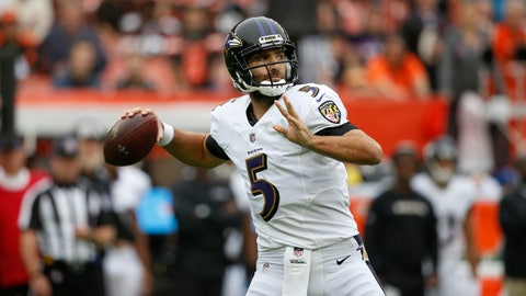 <p>               FILE - In this Oct. 7, 2018, file photo, Baltimore Ravens quarterback Joe Flacco throws during the first half of an NFL football game against the Cleveland Browns, in Cleveland.  A person with knowledge of the trade tells The Associated Press, Wednesday, Feb. 13, 2019, that the Denver Broncos have agreed to acquire Baltimore Ravens quarterback Joe Flacco in exchange for a fourth-round pick in this year's NFL draft. The person spoke on condition of anonymity because neither team announced the deal.(AP Photo/Ron Schwane, File)             </p>