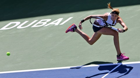 <p>               Czech Republic's Petra Kvitova returns the ball to Jennifer Brady of the U.S. during a match of the Dubai Duty Free Tennis Championship in Dubai, United Arab Emirates, Wednesday, Feb. 20, 2019. (AP Photo/Kamran Jebreili)             </p>