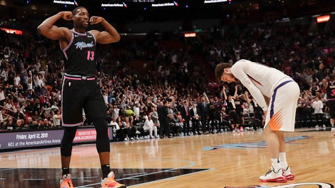 <p>               Miami Heat center Bam Adebayo (13) and Phoenix Suns guard Tyler Johnson, right, react during the second half of an NBA basketball game Monday, Feb. 25, 2019, in Miami. (AP Photo/Brynn Anderson)             </p>