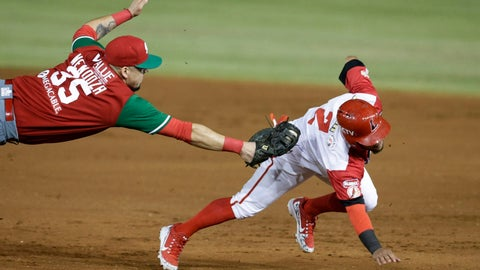 <p>               In this Feb. 4, 2019 photo, Alexi Amarista of Venezuela's Cardenales de Lara, right, is tagged out at first by Victor Mendoza of Mexico's Los Charros de Jalisco on the opening day of the Caribbean Series baseball tournament at Rod Carew stadium in Panama City. (AP Photo/Arnulfo Franco)             </p>