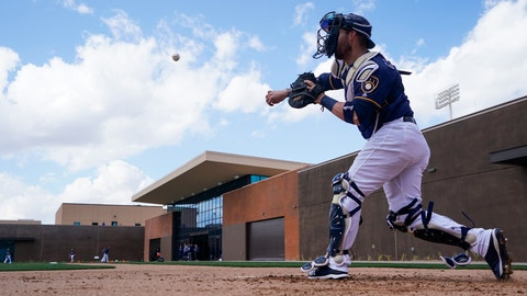 <p>               Milwaukee Brewers' Yasmani Grandal throws during a spring training baseball workout Sunday, Feb. 17, 2019, in Phoenix. (AP Photo/Morry Gash)             </p>