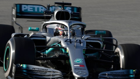 <p>               Mercedes driver Lewis Hamilton of Britain steers his car during a Formula One pre-season testing session at the Barcelona Catalunya racetrack in Montmelo, outside Barcelona, Spain, Monday, Feb.18, 2019. (AP Photo/Manu Fernandez)             </p>