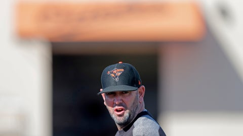 <p>               FILE - In this Feb. 15, 2019, file photo, Baltimore Orioles manager Brandon Hyde walks on the field at their spring training baseball facility in Sarasota, Fla. Under new manager Brandon Hyde, the Orioles have many jobs up for grabs, and nowhere is the competition less defined than in the infield.  (AP Photo/Gerald Herbert, File)             </p>