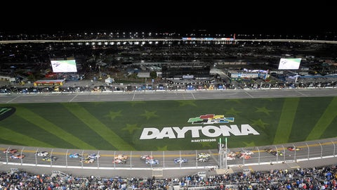 <p>               Drivers take the green flag on the start of the first of two qualifying races for the NASCAR Daytona 500 auto race at Daytona International Speedway Thursday, Feb. 14, 2019, in Daytona Beach, Fla. (AP Photo/Phelan M. Ebenhack)             </p>